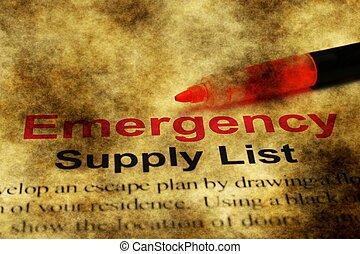 Emergency supply list grunge concept