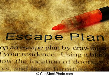 Escape plan grunge concept
