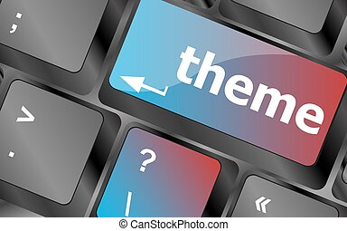 theme button on computer keyboard keys, business concept...