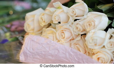 Beautiful white roses bouquet.