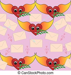 Love message seamless pattern. - Nice hearts with wings and...