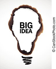 big idea - vector illustration of bulb shaped burn mark with...