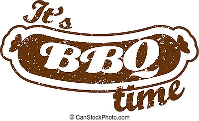 Vector. Grill sausage: It's Barbecue time. Summer BBQ. BBQ season. BBQ poster. Summer Picnic outdoor. Family BBQ day. BBQ related goods adv. Grill meat. Isolated illustration cookout. Barbecue retro