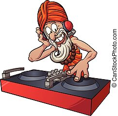 Dj guru - Cartoon DJ guru. Vector clip art illustration with...