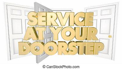 szolgáltatás, -ban, -e, Bejárati lépcső, Nyílik, ajtók,...