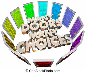 Many Doors Choices Doors Options Different Paths 3d Illustration