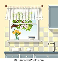 Illustrtion of a kitchen window