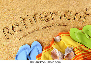 Retirement beach vacation - Beach background with towel and...