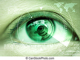 Close up women eye scanning technology in the futuristic,...