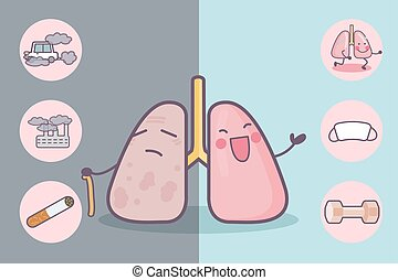 health care concept - Before and after lung, great for...