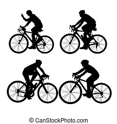 Silhouette of Biker, young sport woman and man with white...