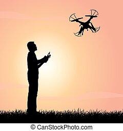 Happy man use drones - Silhouette of Happy man use drones...