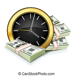 time is money concept with clock and dollars isolated on...