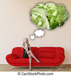 Woman Craving Lettuce and Thinking About Eating Food