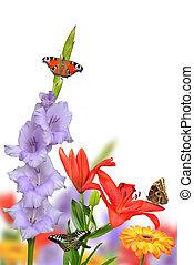 primavera, borboletas, flores