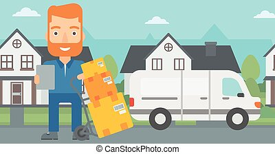 Man delivering boxes - A delivery man standing near cart...