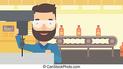 Man working with boring mill - A hipster man with the beard...