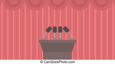 Background of tribune speech with microphones - Background...