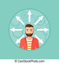 Man choosing way. - A hipster man with many arrows around...