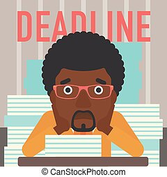 Man having problem with deadline.