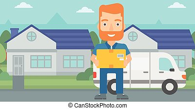 Man delivering box - A delivery man carrying box on the...