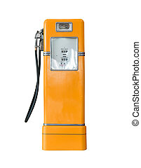 Vintage orange fuel pump on white - Old orange petrol...