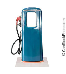 Vintage blue fuel pump on white background - Old blue petrol...