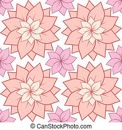 Seamless texture with pink lotus flowers. Vector background for spa centers, yoga studios, postcards and your design