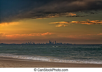 Gold Coast City Skyline From Coolangatta - The skyline of...