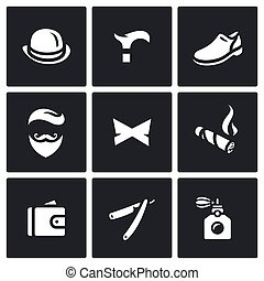 Vector Set of Gentleman Icons - Items of clothing,...