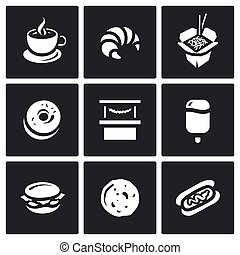 Vector Set of Street Fast Food Icons Coffee, Croissant,...