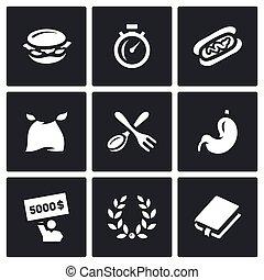 vecteur, ensemble, de, vitesse, manger, Concours, Icons.,...