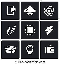 Vector Set of Electronic Industry Icons. Smartphone, Asian,...