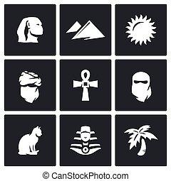 Vector Set of Egypt Icons Sphinx, Dune, Sun, Bedouin,...