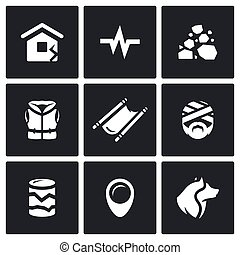 Vector Set of Earthquake Icons Destruction, Seismic...
