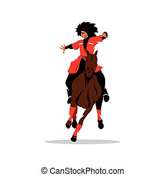 Vector North Caucasus rider Cartoon Illustration. - Man in...