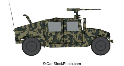 camouflaged 3d render side view of humvee military vehicle -...