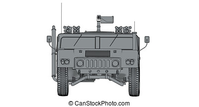 grey 3d render front view of humvee military vehicle -...