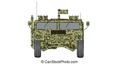 camouflaged 3d render front view of humvee military vehicle...