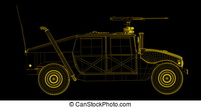 Humvee wireframe game model - X-ray wire frame render of...