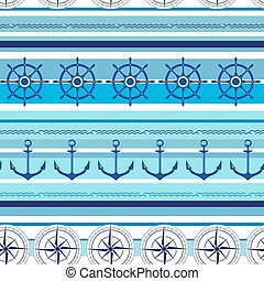 Seamless nautical blue colorful pattern with steering wheel,...