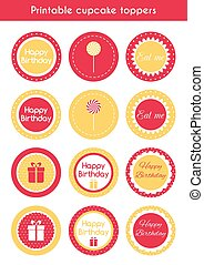 Printable cupcake toppers Vector set of cupcake toppers,...