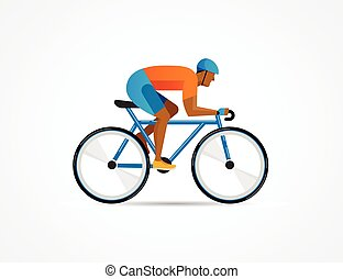 cyclist riding on bicycle, vector illustration and poster