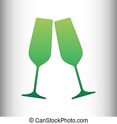 Sparkling champagne glasses. Green gradient icon on gray...