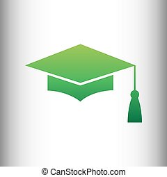 Mortar Board or Graduation Cap, Education symbol. Green...