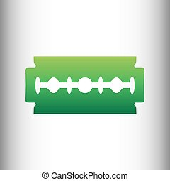 Razor blade sign. Green gradient icon on gray gradient...