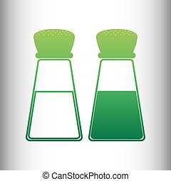 Salt and pepper sign. Green gradient icon on gray gradient...