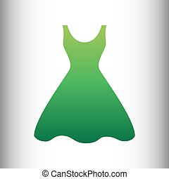 Woman dress sign. Green gradient icon on gray gradient...