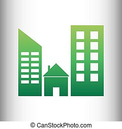 Real estate sign. Green gradient icon on gray gradient...