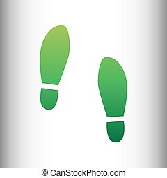 Imprint soles shoes sign Green gradient icon on gray...